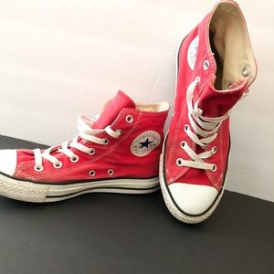 Converse high tops red sneakers
